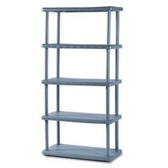 Rough N Ready Five-Shelf Open Storage System, Resin, 36w x 18d x 74h, Charcoal