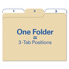 All Tab File Folders, 1/3-Cut Tabs, Letter Size, Manila, 80/Pack