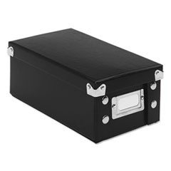 1Collapsible Index Card File Box, Holds 1,100 3 x 5 Cards, Black