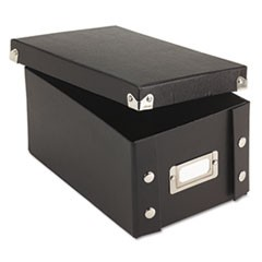 1Collapsible Index Card File Box, Holds 1,100 4 x 6 Cards, Black