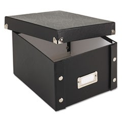 Collapsible Index Card File Box, Holds 1,100 5 x 8 Cards, Black