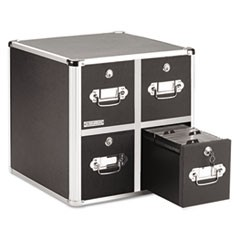 4-Drawer CD File Cabinet, Holds 660 Folders or 240 Slim/120 Standard Cases, Black