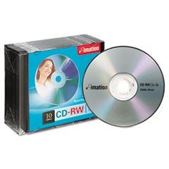 CD-RW Discs, 700MB/80min, 4x, w/Slim Jewel Cases, Silver, 10/Pack