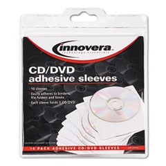 1Self-Adhesive CD/DVD Sleeves, 10/Pack