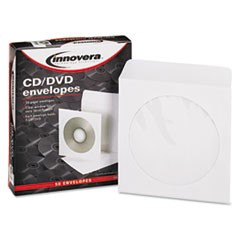 1CD/DVD Envelopes, Clear Window, White, 50/Pack