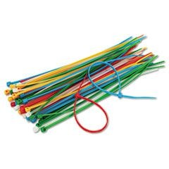 "Cable Ties, 6-3/8"" Length, Assorted Colors, 50 Ties/Pack"