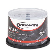 1DVD-R Discs, Hub Printable, 4.7GB, 16x, Spindle, Matte White, 50/Pack