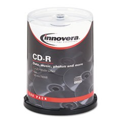 CD-R Discs, Hub Printable, 700MB/80min, 52x, Spindle, Matte White, 100/Pack