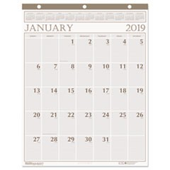 Recycled Large Print Monthly Wall Calendar, Leatherette Binding, 20 x 26, 2019