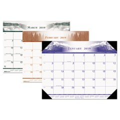 Recycled One-Color Photo Monthly Desk Pad Calendar, 22 x 17, 2019