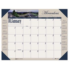Recycled Motivational Photographic Monthly Desk Pad Calendar, 22 x 17, 2019
