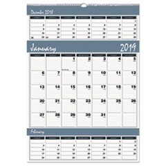 Recycled Bar Harbor Three-Months-per-Page Wall Calendar, 15 1/2 x 22, 2018-2020