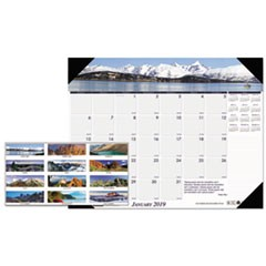Recycled Mountains of the World Photo Monthly Desk Pad Calendar, 22 x 17, 2019