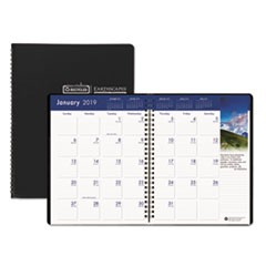 Recycled Earthscapes Full-Color Monthly Planner, 8 1/2 x 11, Black, 2018-2020