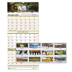 Recycled Scenic Compact Three-Month Wall Calendar, 8 x 17, 2018-2020