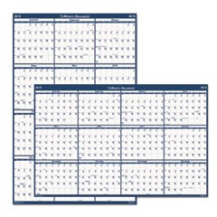 Recycled Poster Style Reversible/Erasable Yearly Wall Calendar, 32 x 48, 2019
