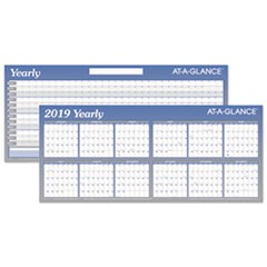 Large Horizontal Erasable Wall Planner, 60 x 26, White/Blue, 2019