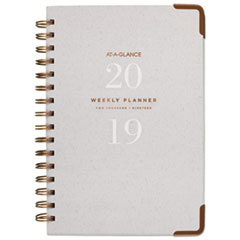 Light Gray Wirebound Weekly/Monthly Planners, 5 3/4 x 8 1/2, Gray, 2019