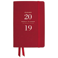 Signature Collection Weekly Monthly Red Perfect Bound Planner, 5-3/4x8-1/2, 2019