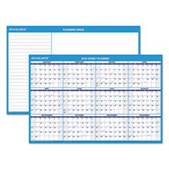 Horizontal Erasable Wall Planner, 36 x 24, Blue/White, 2019