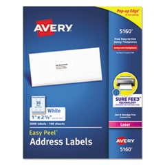 Easy Peel White Address Labels w/ Sure Feed Technology, Laser Printers, 1 x 2.63, White, 30/Sheet, 100 Sheets/Box
