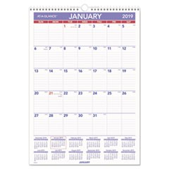 Erasable Wall Calendar, 12 x 17, White, 2019