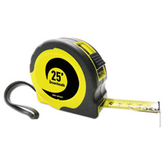"Easy Grip Tape Measure, 25 ft, Plastic Case, Black and Yellow, 1/16"" Graduations"