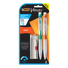 Velocity Max Pencil, 0.9 mm, HB (#2), Black Lead, Assorted Barrel Colors, 2/Pack