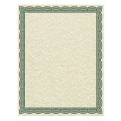 Parchment Certificates, Traditional, 8 1/2 x 11, Ivory, Green Border, 50/Pack