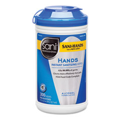 Hands Instant Sanitizing Wipes with Polypropylene, 7 1/2 x 5, 300/Canister, 6/Ct