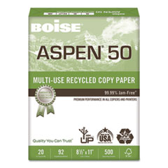 ASPEN 50% Multi-Use Recycled Paper, 92 Bright, 20lb, 8 1/2 x 11, White