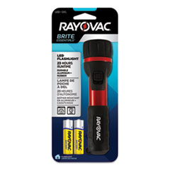 Flashlight, Rubber & Aluminum, 3 V, LED, Red/Black, 2 AA