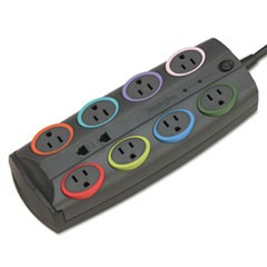 SmartSockets Color-Coded Surge Protector, 8 Outlets, 8 ft Cord, 3090 Joules