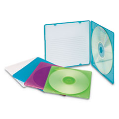 Slim CD Case, Assorted Colors, 10/Pack