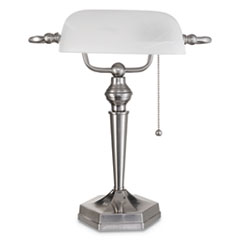 "Banker's Lamp, Post Neck, 16"" High, Brushed Nickel"