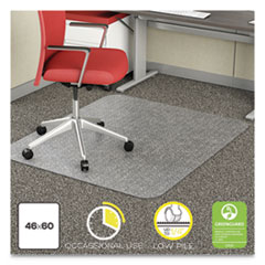 EconoMat Occasional Use Chair Mat, Low Pile Carpet, Roll, 46 x 60, Rectangle, Clear