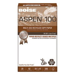 ASPEN 100% Multi-Use Recycled Paper, 92 Bright, 20lb, 8-1/2 x 14, White
