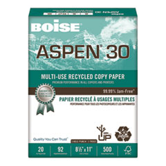 ASPEN 30% Recycled Multi-Use Paper, 3HP, 92 Bright, 20lb, 8.5x11, White, 5000/CT