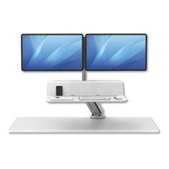 Lotus RT Sit-Stand Workstation, 35.5w x 23.75d x 49.2h, White