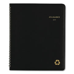 Recycled Monthly Planner, 6 7/8 x 8 3/4, Black, 2019