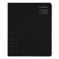 Contemporary Monthly Planner, Premium Paper, 8 7/8 x 11, Black Cover, 2019