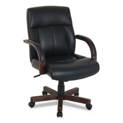 kathy ireland OFFICE by Alera Dorian Series Wood-Trim Leather Office Chair, Black Seat/Back, Mahogany Base