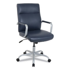 kathy ireland OFFICE by Alera Manitou High-Back Leather Office Chair, Up to 275 lbs., Navy Seat/Back, Smoking Gray Base