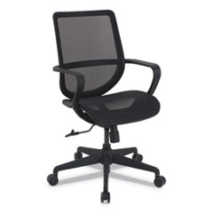 kathy ireland OFFICE by Alera Macklin Series Mid-Back All-Mesh Office Chair, Up to 275 lbs., Black Seat/Back, Black Base