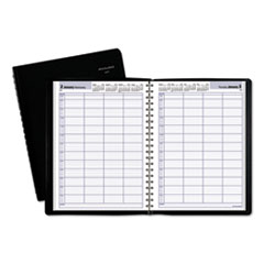 Four-Person Group Daily Appointment Book, 7 7/8 x 11, Black, 2019
