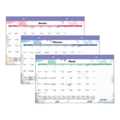 Watercolors Recycled Monthly Desk Pad Calendar, 17 3/4 x 10 7/8, 2019