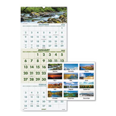 Scenic Three-Month Wall Calendar, 12 x 27, 2019
