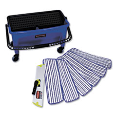 Microfiber Floor Finishing System, 3 gal, Blue/Black/White