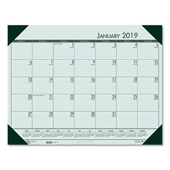 Recycled EcoTones Woodland Green Monthly Desk Pad Calendar, 22 x 17, 2019