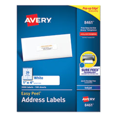 Easy Peel White Address Labels with Sure Feed Technology, Inkjet Printers, 1 x 4, White, 20/Sheet, 100 Sheets/Box